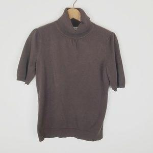 Short sleeve turtle neck sweater loft small brown